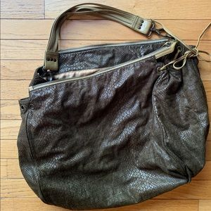 "Tano hunter green ""snake"" skin weekender/tote"